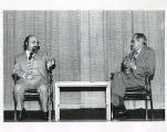 Dr. Louis Shub and Chaim Potok on stage, Chaim Potok, Lecture Series