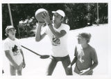 Staff and Campers Playing Basketball, Camp Ramah