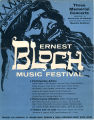 Ernest Bloch Music Festival Concerts Poster, Fine Arts Department, 1960
